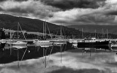 breathhold (keith midson) Tags: reflection water clouds boats boat still cygnet calm tasmania yachts tranquil waterway