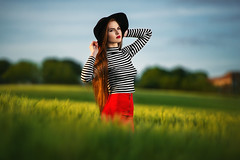 R. (Vytenis Malisauskas) Tags: sunset red portrait girl field fashion hair strobist