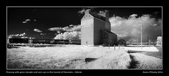 Evening with grain elevator and rail cars in the hamlet of Herronton, Alberta (kgogrady) Tags: old blackandwhite bw panorama canada clouds rural buildings landscape evening blackwhite wooden spring pano country ab alberta infrared weathered cpr grainelevator dx 2016 westerncanada southernalberta d80 cans2s canadianprairies herronton herrontonalberta albertalandscapes candianpacificrailway herrontonab picturesofalberta photosofalberta picturesofgrainelevators photosofgrainelevators