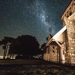 Church on route to Kaikoura, South Island (Scubastevephotos1) Tags: trees sky church night stars astro astrophotography milkyway