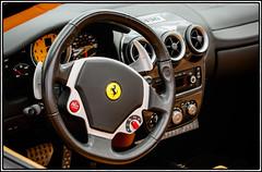 Ferrari F430 interior (Jeff_B.) Tags: auto usa newyork classic cars car newjersey automobile interior cockpit ferrari exotic bergen majestic steeringwheel caffe exotics f430 carscaffe carsanddecaf paramustownsquare