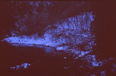 (bensn) Tags: trees winter snow reflection film water japan zeiss river zoom slide contax carl g2 provia nagano 3570mm 400x