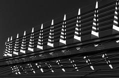Light triangles (jefvandenhoute) Tags: light blackandwhite monochrome lines belgium belgique shapes belgi rhythm businessdistrict diegem nikond800 silverefex photoshopcs6