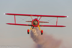 Marcus Paine in -Sweet Marianne--2388 (rob-the-org) Tags: kavq avq maranaregional avravalley stearman marcuspaine sweetmarianne smokeon f80 250mm 1125sec iso100 cropped noflash beacon propdisc topjuly2016