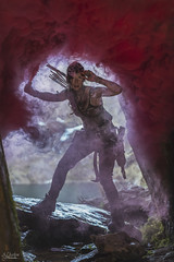 Lara Croft (AJ Charlton Photography) Tags: uk mist game wales square aj photography march video nikon cosplay smoke tomb north location adventure lara croft flare snowdon d750 enix snowdonia grenade ickle ajc charlton raider
