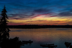 Lake Water Lapping (docoverachiever) Tags: sunset lake water silhouette landscape washington dock scenery peaceful americanlake 652
