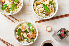 fried rice with mushrooms and peas (Zoryanchik) Tags: food green mushroom vegetables dinner asian lunch mushrooms pepper cuisine restaurant healthy rice background grain chinese vegetable fresh gourmet delicious meal vegetarian chopsticks peas stir diet oriental fried