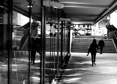 By carrying her shoes (pascalcolin1) Tags: blackandwhite reflection shoes noiretblanc mirrors barefeet reflets streetview chaussures paris13 photoderue miroirs piedsnus urbanarte photopascalcolin