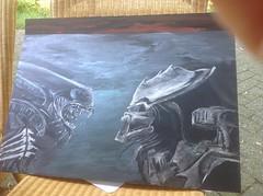Painting in the shade avp2 (RedRoofArt) Tags: avp predator alien painting acryl metallic