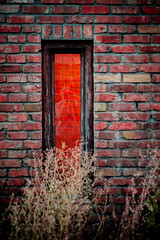 Red (squeex) Tags: brick wall red window reflection alley edmonton