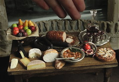 Medieval Fare (fairchildart) Tags: dollhouseminiature food medieval fare tudor realistic fairchildart 1 12 scale one inch table wine
