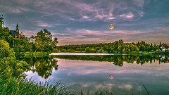 moonrising (bocero1977) Tags: buidling landscape church nature reflection germany moon lake evening clouds trees blue water colors green sky moody outdoor light