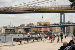 The Manhattan Bridge! The Brooklyn Bridge! Brooklyn Bridge Park! Great weather on a Tuesday at the end of summer! Two cute guys with bicycles! (molybdena) Tags: brooklynbridgepark ferry bicycle manhattan newyork manhattanbridge brooklynbridge brooklyn haze construction bird transportation newyorkcity pigeon sport boat lowermanhattan tourist cycling streetphotography nyc
