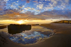If the world should end in fire (pauldunn52) Tags: southerndown beach glamorgan heritage coast wales dunraven rock pool reflection sunset