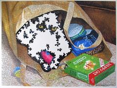 Busted! - unfinished (Leonisha) Tags: cat blackcat bag chat puzzle katze jigsawpuzzle puzzlebox papiersack puzzleschachtel