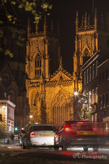 Driving home for Christmas (Sadloafer) Tags: road street uk travel england motion church vertical architecture night outdoors photography streetlight arch cathedral god flag religion gothic nopeople spire international christianity activity yorkminster vacations scenics active traveldestinations famousplace britishculture buildingexterior colourimage builtstructure yorkyorkshire sadloafer hansdavisphotography