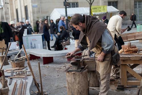 Foire des Savoir-Faire Solidaires 2013, Installation de Guedelon, les bâtisseurs de Chateau Fort © M.RONDEL