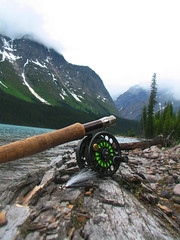Wild Places (kdlinab) Tags: trees wild lake snow canada mountains log rocky peaceful sage alpine rod remote flyfishing reel clouser