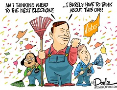 Goobernors cartoon (DSL art and photos) Tags: ohio fall leaves de election politics parties governor caricature republican rios votes candidates greenparty editorialcartoon donlee kasich ocrat fitzgeralf