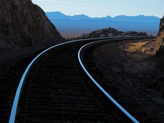 Coming 'Round the Bend (zoniedude1) Tags: railroad arizona southwest track view desert perspective rr adventure curve exploration discovery rightofway downthetracks lapazcounty granitewashmountains acrr chasingtrains arizonacaliforniarailroad zoniedude1 canonpowershotg12 westernaz comingroundthebend pspx6 shinyrails