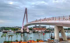 The Lover Bridge() HDR (dy91) Tags: bridge sea sky seascape landscape nikon taiwan wharf fishermans taipei   hdr  danshui  d5300