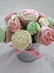 Cupcake Bouquet (There for the Baking) Tags: birthday pink flowers roses green cream cupcake bouquet