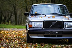 240 in autumn (David Ripamonti) Tags: colors car foglie vintage wagon volvo estate turbo autunno 240 youngtimer