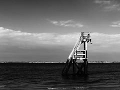 Le Grand Saut (fredoloco) Tags: sea blackandwhite mer france blancoynegro beach lumix vacances seaside holidays noiretblanc dive panasonic olron plong