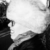 Fur hat with woman (Fokko Muller) Tags: street urban blackandwhite bw woman amsterdam europe zwartwit thenetherlands streetphotography urbanphotography straatfotografie photowalkamsterdam thomasleuthard