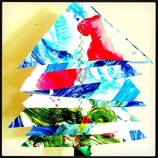 365/327 • paintings from the year turned into trees - trying to get my craft on with a super tired 4yo - more tea needed • #2014_ig_327 #christmas2014 #recycle #decorations #sewing #paintings #craft #colour
