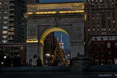 An Evening in Washington Square Park (Judy Lubeski) Tags: christmas nyc night lights empirestatebuilding wasingtonsquarepark greenwichvillageny
