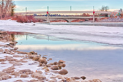 353/365 - Wonderful Winter (Keeperofthezoo) Tags: bridge trees winter snow canada cold reflection calgary ice nature water beautiful river season landscape frozen rocks downtown bokeh seasonal scenic alberta bowriver reflction downtowncalgary reflectiononwater lrtbridge