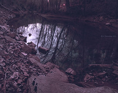The Blue Hole (A. Shamandour) Tags: wood blue building tree water beauty port river landscape lost photography harbor photo war ship chaos unitedstates hole kentucky civil ashes syria soldiers cave scape damascus bowlinggreen seaport waterscape shamandour