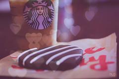 Sweetness (theevildana) Tags: portrait food love coffee hearts cookie yum sweet chocolate starbucks icedcoffee iced
