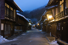 quiet street (k n u l p) Tags: street blue winter snow japan sony nagano 長野 narai naraijuku 奈良井宿 nex7 sel1670z