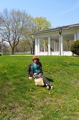At My Age, It's Easy Getting Down . . . (Laurette Victoria) Tags: woman sunglasses spring auburn jeans jacket milwaukee lakepark laurette