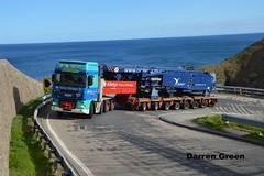 ALLELY'S HEAVY HAULAGE DAF XF 480 SUPER SPACE T500 AHH (denzil31) Tags: 3 car cat body lg bms trucks heavy trailers ahh osprey a9 braes daf liebherr xf haulage stgo superstructure berridale t500 goldhofer allelys