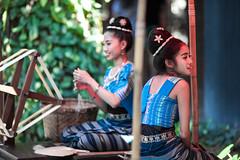 Thai dancers (frfourrier) Tags: street blue girls portrait people colors canon thailand women asia colours dancers bangkok thai symetry framing 135mm