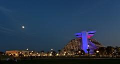 Sheraton Doha (Sanjiban2011) Tags: park nightphotography sky moon architecture lights hotel evening nikon colours nightscape outdoor d750 fullframe sheraton fx tamron doha qatar sheratonpark sheratondoha tamron1530