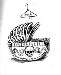 Cradle of decay sketch (ashley russell 676) Tags: baby illustration pencil cord skull sketch infant carriage drawing stroller clothes crib bones spine rib carrion worms hanger fetal scavengers spinal
