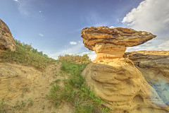 Roll Out The Pleas (Wayne Stadler Photography) Tags: park travel camping sunset canada rock rural countryside afternoon country places roadtrip explore alberta sacred aboriginal prairies prehistoric formations writingonstone provincial writings southernalberta