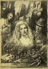 Three of Hearts ( sketch/not finished ) (Yaroslav Gerzhedovich) Tags: bw art texture strange vertical illustration painting paper movie poster weird artwork acrylic noir grunge surreal tiny allegory bizzare threeofhearts pokersize