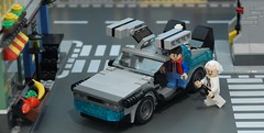 Gull Wing Revision (Hobbestimus) Tags: brown movie toys lego 80s doc delorean backtothefuture timemachine martymcfly moc