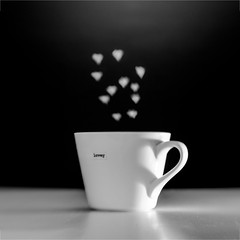 Cup Of Love (S. Dixon) Tags: china bw white black love cup coffee lensbaby hearts handle focus heart tea shaped sony shaddow steam mug composer a65