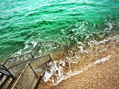 Stair into the abyss/sea. (ijclark) Tags: sea beach coast steps wave pebble seashore dover englishchannel instagram