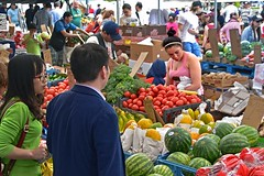 Veggies and Melons (AntyDiluvian) Tags: vegetables boston fruit booth stand couple market massachusetts vendor melons haymarket streetmarket outdoormarket blackstonestreet