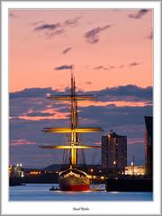 Tall Ship In The Gloaming (flatfoot471) Tags: sunset urban museum landscape scotland riverclyde spring twilight riverside crane dusk glasgow ships normal yorkhill govan 2012 gbr glenlee whiteinch cityofglasgow