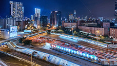 Cross-Harbour Tunnel, Hung Hom, Kowloon (mikemikecat) Tags: street house building night lumix hongkong evening cityscapes olympus hong kong housing lighttrails nightview   kowloon   hdr   hunghom  twilights crossharbourtunnel 714mm       mikemikecat