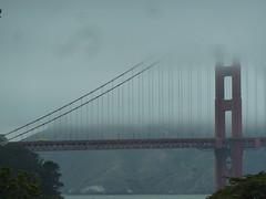 Fog shrouded Golden Gate (tend2it) Tags: presidio san francisco california historical 2016 bay area golden gate bridge orange sf fran fog shrouded cloudy