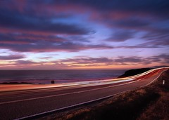 This Way to the Coast (RZ68) Tags: ocean california road county street light sunset sea motion blur color cars beach clouds 1 coast highway long exposure traffic pacific sonoma shoreline trails hwy velvia pch provia rz67 e100